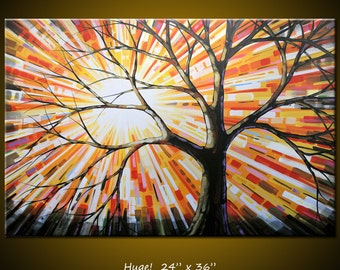Original Large Abstract Landscape Sunrise Tree Painting Modern Contemporary ... 24 x 36 ... Shine, by Amy Giacomelli