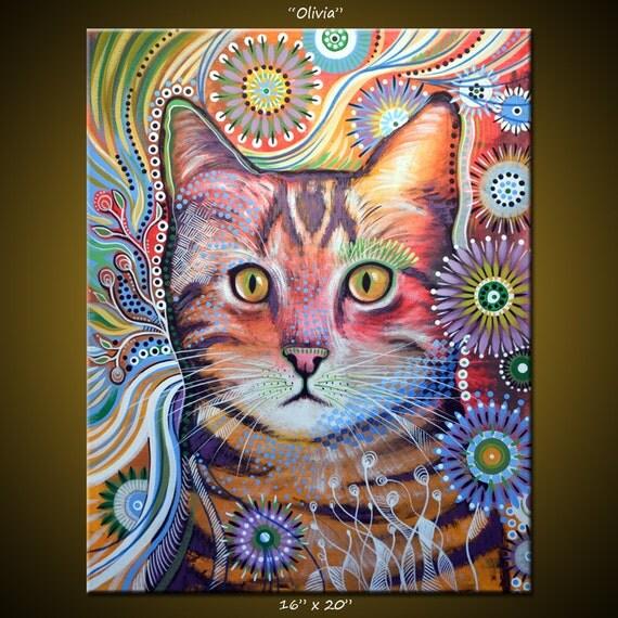 Articles similaires art abstrait peinture moderne - Tableau de chat moderne ...