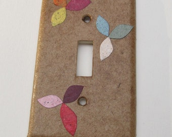 Decorative Tan with flowers Light Switch Plates, handmade paper from recycled broken brown bags and junkmail, earth friendly wall art