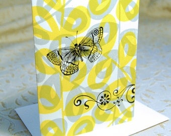 Butterfly and Leaves Letterpress Note Cards