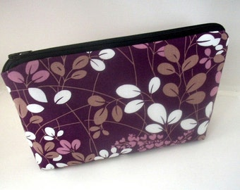 Large Padded Cosmetic Bag Flat Bottom Zipper Pouch Clutch ECO Friendly  Simply Plum