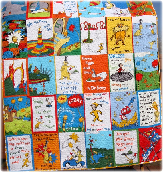 Dr Seuss Baby Quilt Green Eggs and Ham, The Lorax and Oh the Places ...