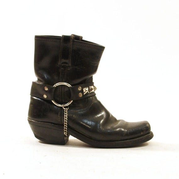 frye ankle harness motorcycle boots black leather