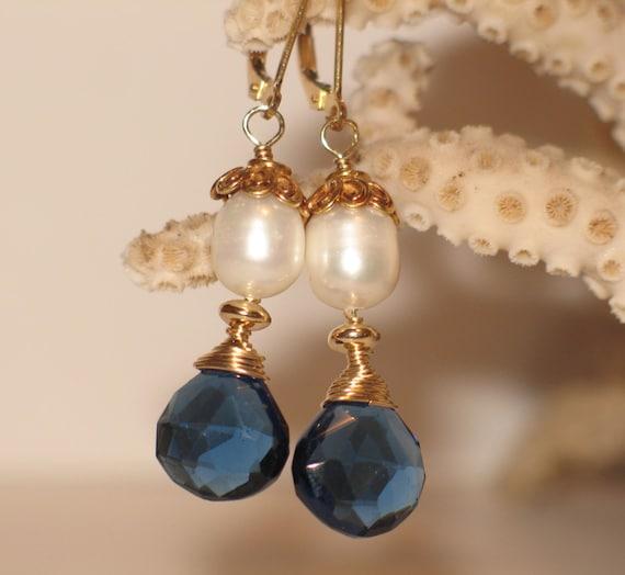 Gold, Pearl & Kyanite Quartz Drop Earrings