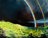 Print of original oil painting reproduction by Aja - Double Rainbow All The Way 20x20