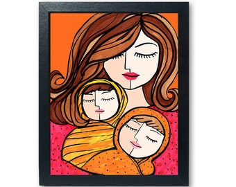 Mother and Twins Print - Mother Art, baby Art, mom and children Print, nursery Art, wall decor, twin Art, red, yellow, orange
