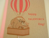 Anderson the Squirrel Hot Air Balloon Happy Valentine's Day Felt Heart Note Card with Envelope