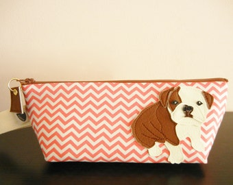 Boris the Bulldog Strawberry Pink Chevron Stripes Cotton Print Canvas Carry All Case Vinyl Applique