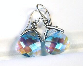 Aquamarine Blue Earrings Light Baby Sky Glacier Swarovski Crystal Flat Triangle Briolette Petite Dangle Teardrop Raindrop Drop Sparklers