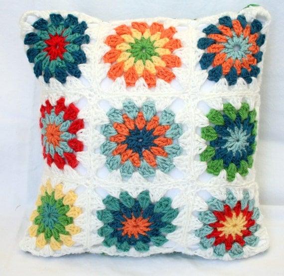 "Crochet Granny Square Sofa Pillow, 14"" x 14"""