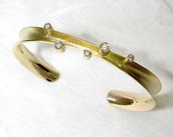 14K Solid Gold Cuff Bracelet, textured set with 5 diamonds.