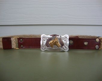 Vintage Garay Belt with Justin Horse Buckle Equestrian Woven and Leather Belt
