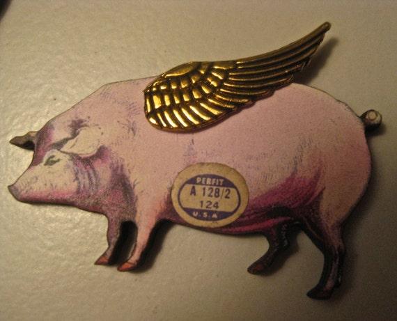 When Pigs Fly wood brooch with metal wings, vintage paper watch ...