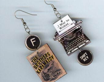 Book cover Earrings - Dostoyevsky quote The Brothers Karamazov - typewriter key jewelry - librarian student readers literary bookish gift
