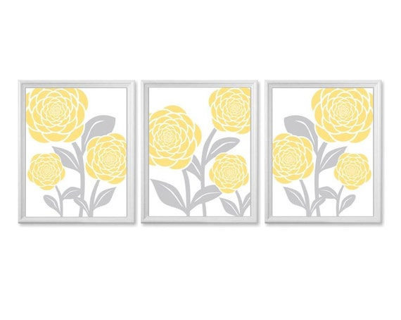 Items similar to yellow and gray bathroom wall art set of for Bathroom wall decor uk