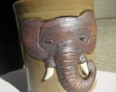 handmade sculpted elephant coffee mug