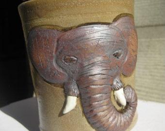 handmade sculpted elephant coffee mug