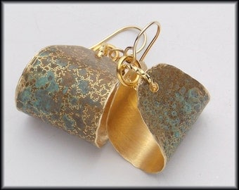 HATTIE - Handforged Patinated Bronze & 14KT GF Dipper Earrings