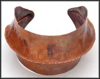 SCULPTURED CUFF - Handforged Flamed Foldformed Wide Copper Cuff Bracelet