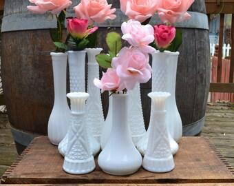 Vintage Milk Glass Bud Vases set of 10 (Set 2) - Vintage Wedding - Royal Hill Vintage