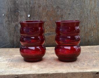 SALE Pair of Vintage Ruby Red Tumblers