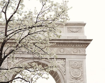 Washington Square, New York Photography, Architecture Pictures, NYC Print, NYC Blossoms, Fine Art Photography, White Wall Art