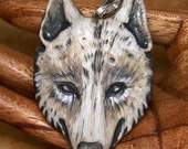 White & Gray Wolf Head Face PENDANT or BEAD Hand Painted Polymer Clay
