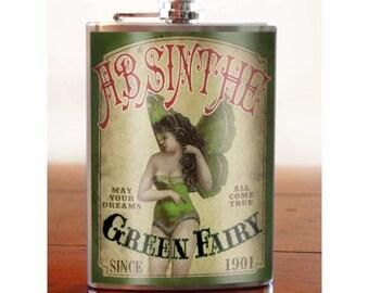 Absinthe Fairy - Flask - 8oz. - stainless steel