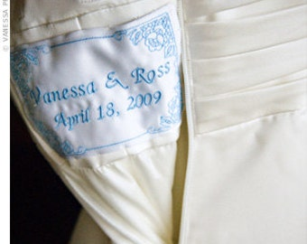 custom wedding dress label