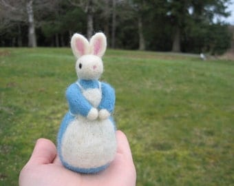 Felted Bunny Lady Miss Lucy Wool Figure