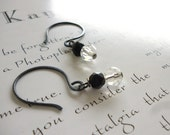 sterling silver earrings - oxidized - jet and crystal earrings in black and white - persephone earrings