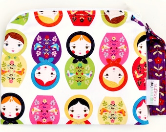 Small 9 x 9 Wet bag / Snack / Swim / Diapers / Little Kukla Russian Dolls Fabric / SEALED SEAMS and Snap Strap