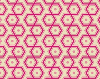 Pink Orange Hexagon Geometric Cotton Fabric - Modern Quilting Sewing - Notting Hill Collection - cotton Fabric by the yard