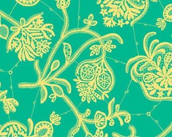Amy Butler Lark Collection Souvenir Mineral Green Yellow Floral Cotton Fabric by the yard from Shereesalchemy