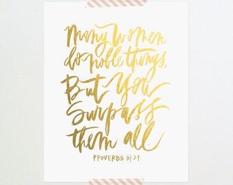8x10 print / faux gold foil proverbs 31:29