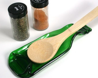 Beer Bottle Spoon Rest or Snack Server - Green - Recycled Eco-Friendly