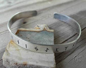 Rune Cuff Bracelet 925 Sterling Silver Runic Jewelry 91216