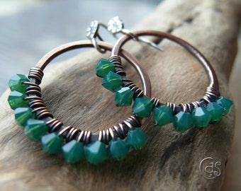 Emerald Green Earrings. Beaded Copper Hoops. May Birthday Jewelry. Cindy's Art & Soul