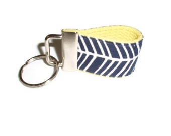 Navy Blue and Yellow Keychain