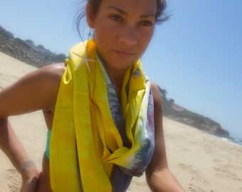 RESERVED FOR LIZ Bali Circle Scarf in Brushed Steel and Clear Yellow