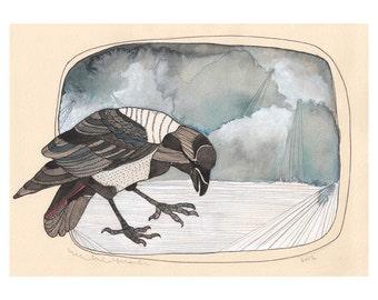 Art Print - Watercolor Art Print - Home Decor - Wall Art - Crow Print - Crow Art - 8x10 Art Print - Stay There