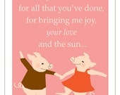 Love and joy with pigs print in an 11 x 14 inch mat