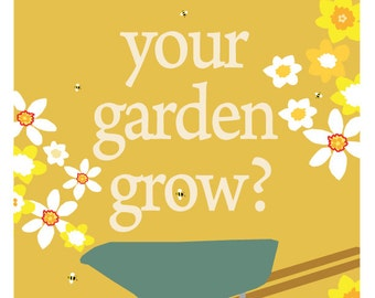 garden poster daffodills with red wheelbarrow