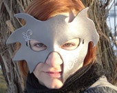 "Wearable Leather Art Mask (Silver ""Creepy Sweep"")"