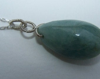 Large Freeform  Aquamarine nugget, sterling silver wire coil wrap,  ss box chain  necklace