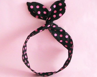 Dolly Bow Headwrap-Black and Hot Pink Polka Dots