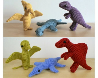 PDF Dinosaurs Sets 2 & 2X - six amigurumi CROCHET PATTERNS
