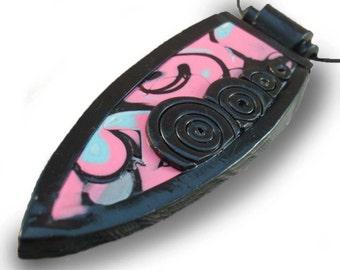 Black Pink Turquoise Pendant Necklace: Shield Dagger Shaped, Spiral Design Detail, Mokume Gane, Polymer Clay