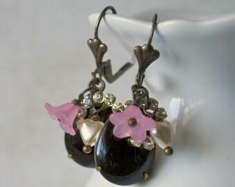 Vintage Black Rhinestone Dangle Charm Brass Teardrop Earrings - Ornelia
