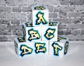 ABC Blocks Blue/Yellow Graffiti Street Art Rockin' Blocks Urban Baby Blocks Cool Alphabet Blocks